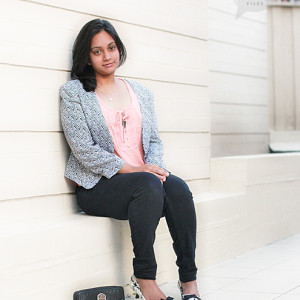 Chevron print jacket and peach top- Valley girl | Jeans- Random store (India) | Pumps- White house Black market (US) | Wristlet - Guess | Necklace- Proud's jewellers