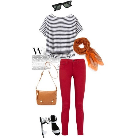 stripe tee weekend look