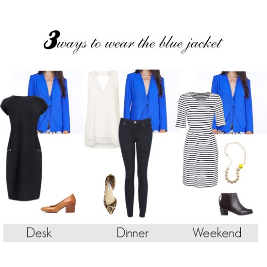 3 ways to wear blue jacket