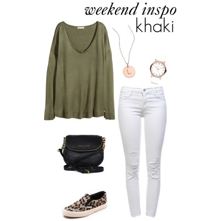khaki knit top look